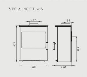 Vega 750 Glass Stove Dimensions