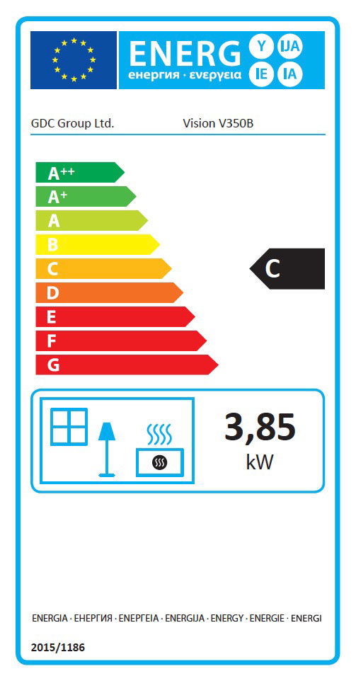 Vision 350B Class 1 Glass Fronted Fire Energy Label