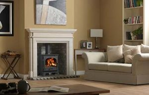 Avebury Stove with Teramo Surround and Grey Brick Bond Chamber